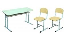 Комплект парта+2 стула рег. по высоте антисколиоз, круглая труба