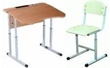 Комплект парта+стул рег по высоте антисколиоз, круглая труба