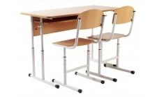 Комплект парта+2 стільці регульовані по висоті, кругла труба, сірий каркас
