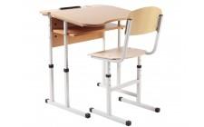 Комплект парта+стілець рег по висоті антисколіоз, сірий каркас