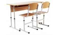 Комплект парта+2 стільці регульовані по висоті, сірий каркас